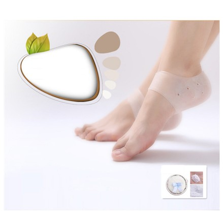 Pair of Silicone Gel Heel Protector Sock Foot Care Pain Relief Anti-cracking Cushion Pad